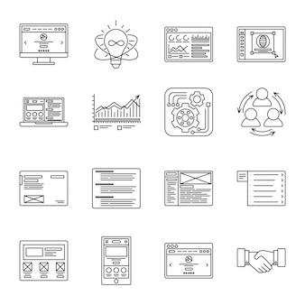 技術とビジネスの細い線のアイコンを設定します。管理、財務、コンピューター、インターネットのシンボル