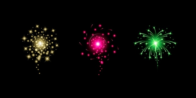 Фейерверк реалистичные иллюстрации. новый год, рождество или праздничные элементы празднования.