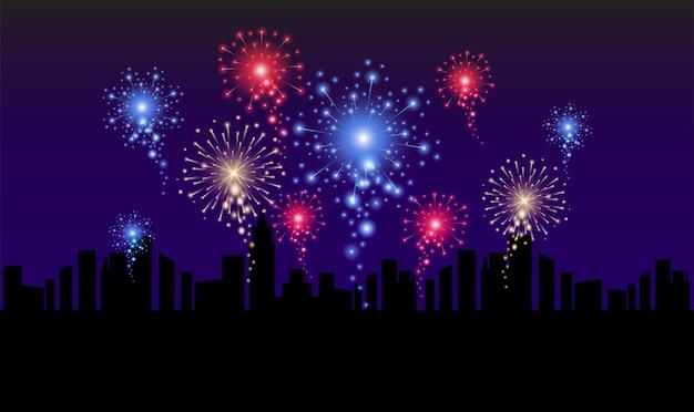 花火のリアルなイラストと夜の街のスカイライン。新年、クリスマス、休日のお祝いデザイン。