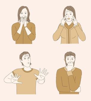 パニックで怖い女性、恐怖の男性のイラスト。メンタルヘルス、心理学の問題の概要概念。