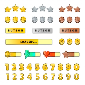 Игровой графический интерфейс пользователя. дизайн, кнопки и значки. изолированная иллюстрация комплекта игрового интерфейса