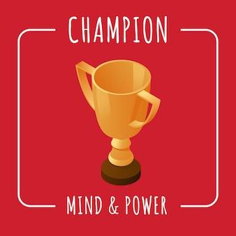 Чемпион баннер дизайн шаблона. концепция разума и власти с пространством текста.