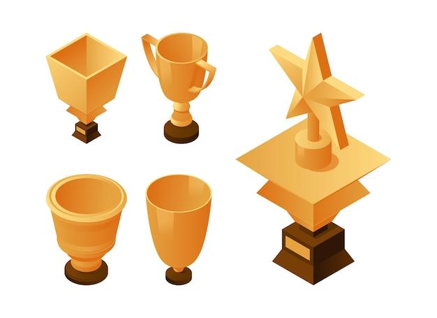 Набор золотых кубков и трофеев на деревянный постамент. иконки победителей, лидеров и триумфов.