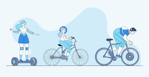 Современный личный транспорт баннер концепция. экологичные городские колеса мультфильм наброски иллюстрации.