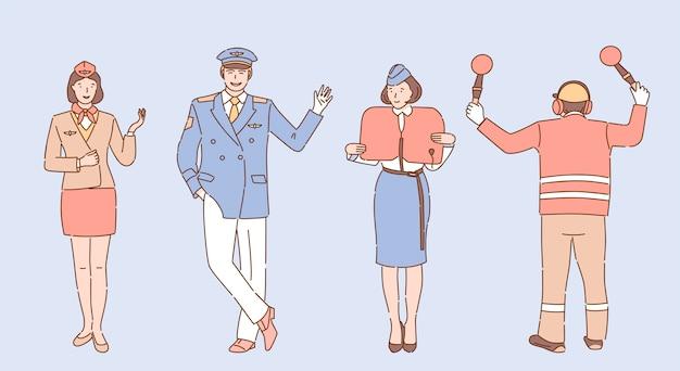空港および航空会社の労働者のイラスト。乗務員、スチュワーデス、パイロット、空港従業員のキャラクター。