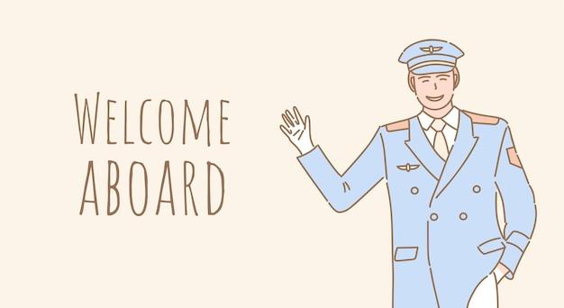 Добро пожаловать на борт дизайна баннера. пилот приветствует вас в дизайне плаката.
