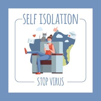 自己分離とウイルスチラシテンプレートを停止します。グローバルパンデミックフラットイラスト中に在宅勤務の女性。