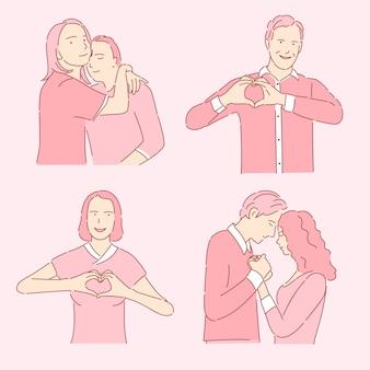 ロマンチックな人々のセットです。男と女の手で心を示し、愛の図にカップルを抱き締めます。