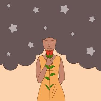 手でバラを保持している髪の星とカジュアルなドレスを着た女性。花の日、女性の日のバナーのコンセプト。