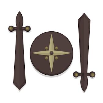 フラットスタイルの木の盾と剣のデザインアイコン。ベクトル現代図