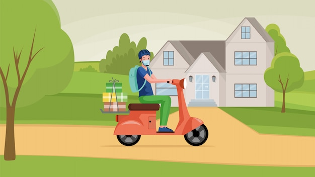 フェイスマスクの男はバイクを運転し、ショップ漫画イラストから商品を届けます。