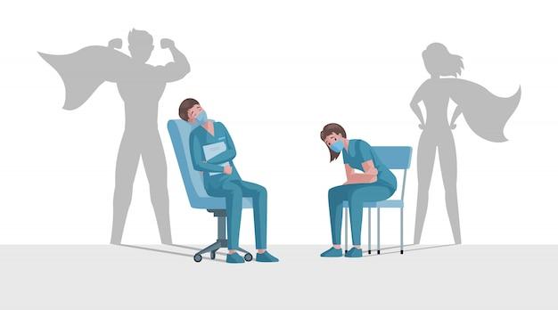 スーパーヒーローの影を持つ医師や看護師は、コロナウイルスの発生漫画イラスト中に残ります。