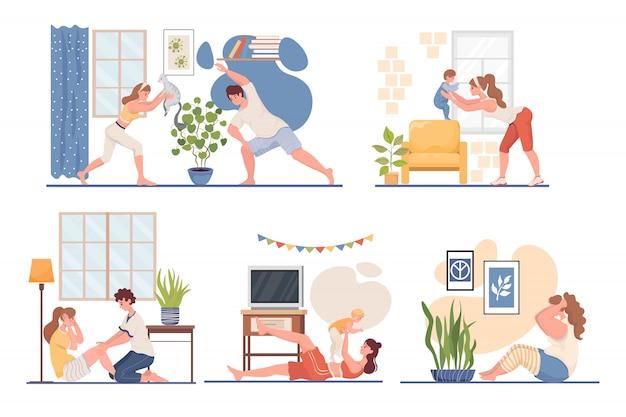家のイラストでスポーツをしている人々。コロナウイルスの発生中のリビングルームでのフィットネストレーニング。