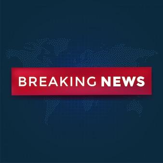 点線の世界地図背景に赤いリボンで速報ニュース。ニュース背景ベクトルイラスト。