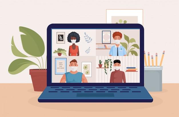 友人や同僚のイラストと話しているノートパソコンの画面上の人々。ビデオ会議、遠隔作業。