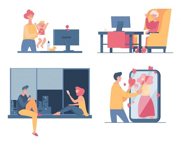 人々は家で一緒に時間を過ごし、チャットやビデオ通話の漫画イラストで話します。