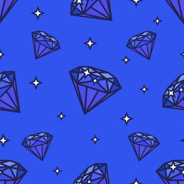 シームレスダイヤモンドパターン。青い背景上のイラスト。宝石の形と星