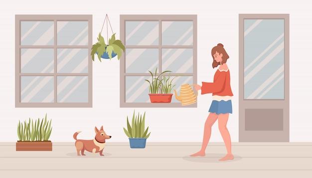 バルコニーまたは部屋の観葉植物に水をまく女。モダンなインテリアフラット漫画イラスト。