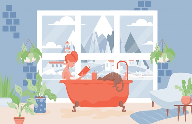 女性は入浴し、挿絵を読みます。衛生やスパの手順の概念の間にリラクゼーション。