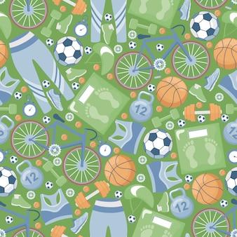 スポーツのシームレスなパターン。スポーツ服、自転車、ダンベル、体重計、ランニングシューズ、ボール、スケールフラットイラスト。
