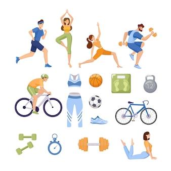Набор спортивных товаров. счастливые люди в спортивной одежде делают тренировки, йогу и растяжку.