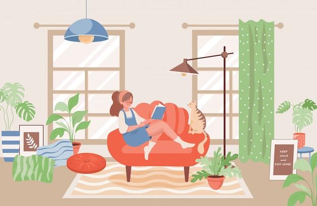 本フラットイラストを読んで猫を持つ少女。モダンな居心地の良いリビングルームのインテリアデザインのコンセプト。