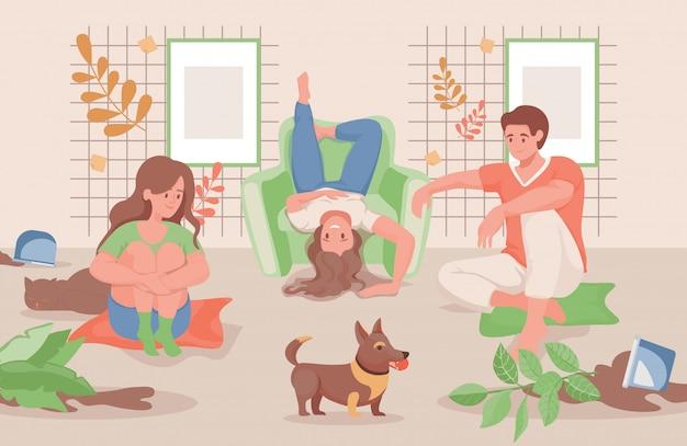 家や庭のフラットイラストで一緒に時間を過ごす幸せな家族。