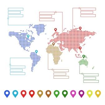 ポインター記号とテキストの場所が付いた点線の世界地図。あなたのデザインのコンセプト
