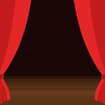 茶色の木の床の舞台幕