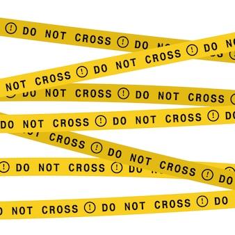 警察のラインはテープを横切らないでください。ベクトルフラットスタイルのデザインイラスト。