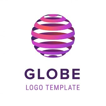線のロゴのデザインテンプレートと抽象的な球