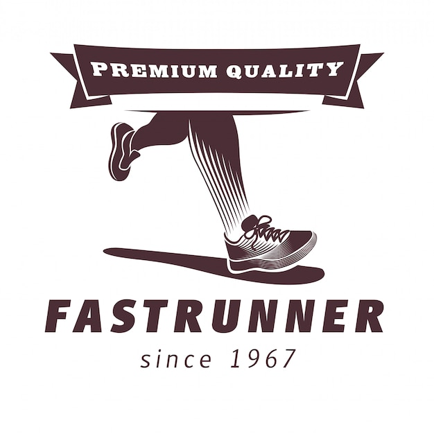 スポーツシューズのロゴデザインのランニングレッグ