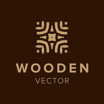 Деревянный дизайн логотипа. творческий символ элемент для бизнеса. шаблон модный значок.