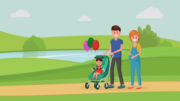 子供と公園で家族