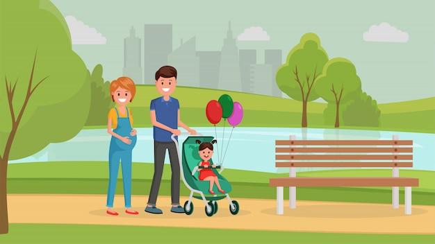 夏の公園で家族