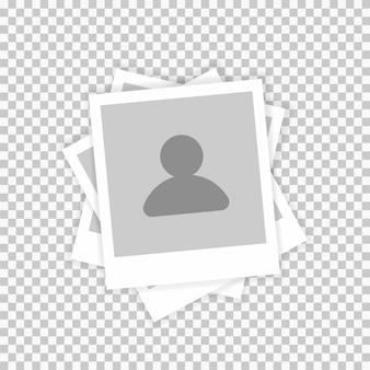プロフィール写真写真テンプレート、男性のシルエットのアイコン。