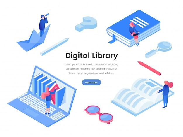 デジタル図書館のウェブバナーのテンプレート