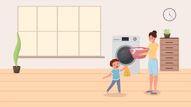 Мама и сын стирают