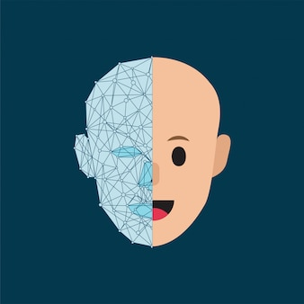 人間の頭と現代の様式化されたサイバネティック人間