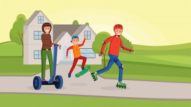 スポーツフラットを持っているアメリカの家族
