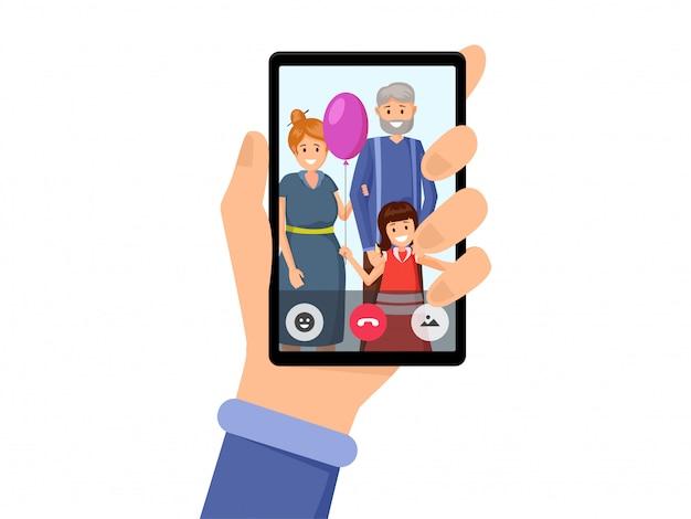 家族のビデオ会話フラット