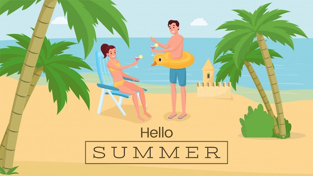 ロマンチックな海辺の休暇バナー