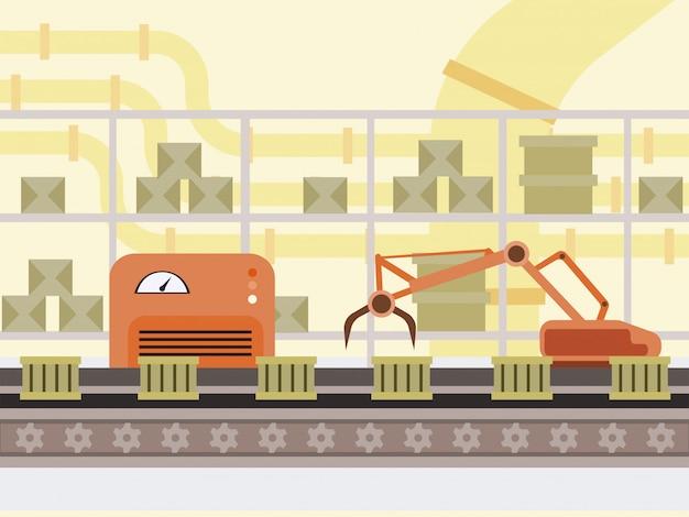 自動生産ラインの漫画イラスト。ファクトリーコンベアベルト、ロボットハンド現代自動車技術、スマート産業の箱。倉庫、郵便局のロボット化機器のカラー描画
