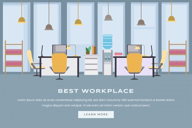 コワーキングワークスペースのイラスト。モダンな空のオフィスのインテリア、家具付きの企業の職場