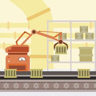 ロボット化生産ラインの漫画イラスト。製造自動化プロセス