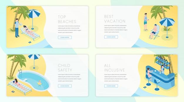 Набор шаблонов страниц посадки тропический курорт. индустрия туризма, идея интерфейса домашней страницы вебсайта дела туризма лета с изометрическими иллюстрациями.