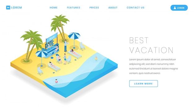 観光産業のランディングページベクトルテンプレート。等尺性のイラストと旅行局サービスのウェブサイトのホームページのインターフェイスのアイデア。