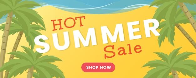 夏卸売フラットバナーベクトルテンプレート。サマーシーズンセール