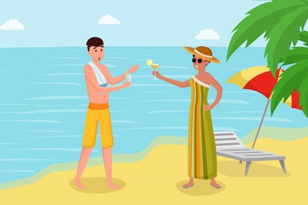 海岸のベクトル図に飲み物を楽しんでいます。熱帯の島の豪華な夏休み