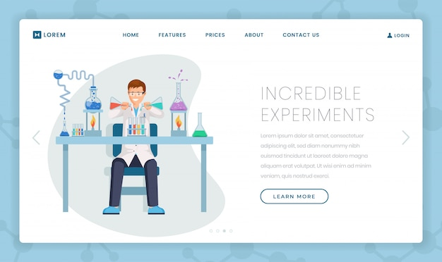 Невероятные эксперименты шаблон целевой страницы